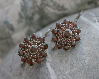 Estate Bohemian Garnet Earrings Silver Drops - JL1005