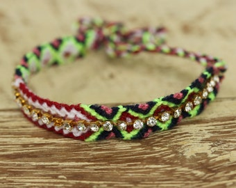 Woven cotton friendship bracelets with fake diamond artificial(pink,green,black,red,white)