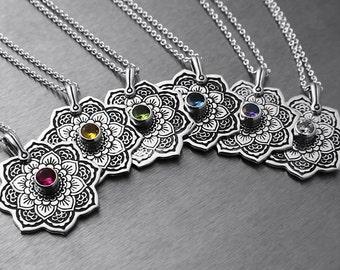 Sterling Silver Mandala Pendant Necklace, Silver Necklace, Birthstone Necklace, Spiritual Jewelry, Buddhist Jewelry, Zentangle