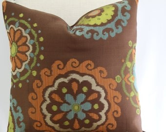 Decorative suzani 19x19 pillow cover,throw pillow,accent pillow,same fabric front and back.
