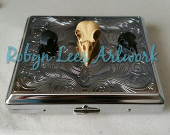Silver Filigree Engraved Cigarette Case Box with Large Antiqued Resin Bird Skull & Small Black Resin Bird Skulls, Old Time, Gentleman