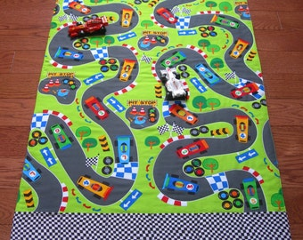 Race Track Roll Up Play Mat Pockets For Toys Playmat Car Play Mat