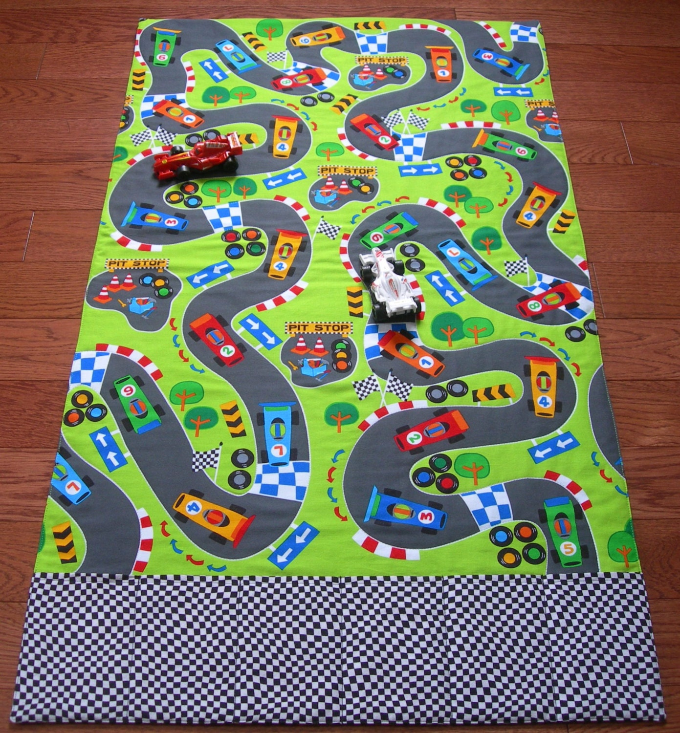 Race Track Roll Up Play Mat Pockets For Toys Playmat Car Play