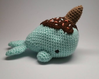 Ice Cream Sundae Narwhal, Ice Cream Cone Whale, Dessert Whale, Narwhal Plush