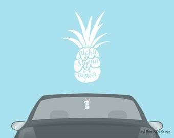 ASA Alpha Sigma Alpha Pineapple Car Laptop Dorm Window Vinyl Sorority Decal Sticker