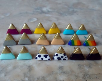 ANY CUSTOM COLOR! One pair gold dipped color block triangle earrings. Polymer clay on surgical steel posts. Custom Christmas gift under 20