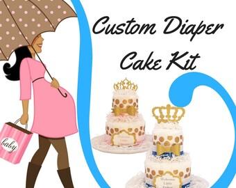 Custom Diaper Cake Kit, 2-tier Diaper Cake Centerpiece Kit, DIY Diaper Cake