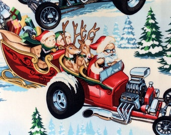 Fabric, Hot Rod Holiday in Brite, Santa Claus Christmas Cars , Alexander Henry, Last One Yard