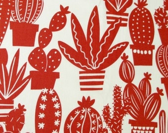 Fabric, Agave Cactus Plants, Tea and Chile Red, Alexander Henry Fabric, Cacti Succulents, By the Yard