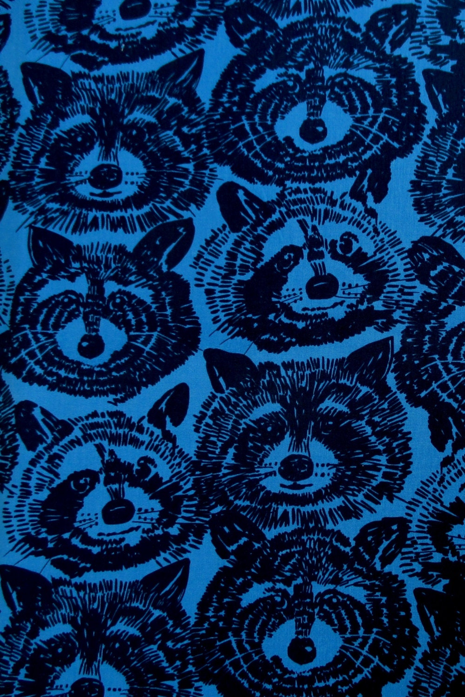 Fabric Rocky Raccoon In Blue Woodland Animal Alexander