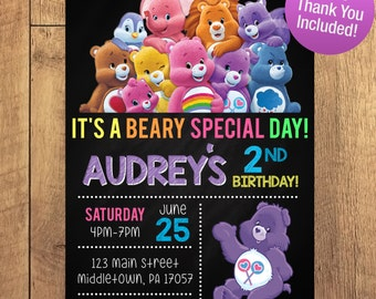 Care Bear Birthday Party Invitation FREE THANK YOU Included