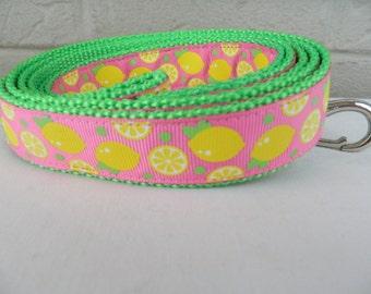 Yellow Lemons on Hot Pink Dog Leash