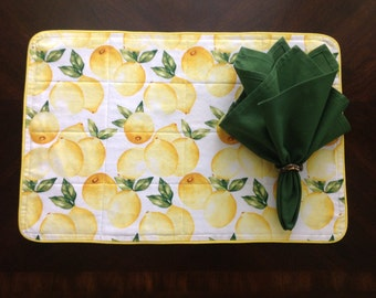 Placemats in a Bright Yellow Lemon Print, Sets of 2