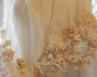 Tea dyed Silk chiffon with silk and Net Embelllished