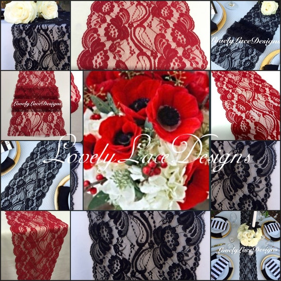 Lace table runners red black white 3ft to by for 10 minute table runner 30 minute tote bag