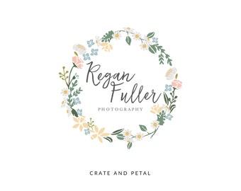Premade Logo Design - Floral Wreath Logo - Flower Logo Design - Photography Logo - Small Business Logo (052)