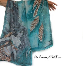 Hand-painted silk scarf. Feather scarf. Boho scarf Native American Indian. green Blue Art wearable silk feather. Gift wrapping Original wrap