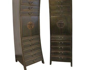 Pair of Antique Curved Tall Asian Cabinets Wardrobe Elmwood & Brass Mingh Style