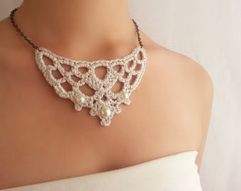Wedding necklace Pride and prejudice jewelry necklace Fine jewelry Silver collar