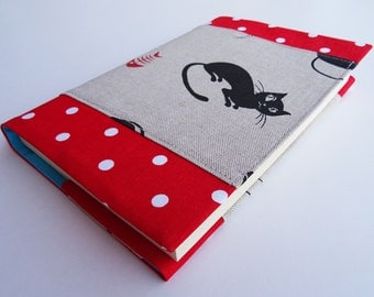 Fabric Book Cover Black Cats, Reusable Book Cover, Red Polka Dots, Black Cats Print Cotton, Gift for Cat Lovers, Paperback Book Protector