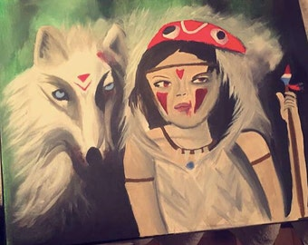 8x10 Canvas Print of Original Wolf & Girl Painting