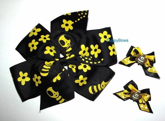 Puppy Bows ~ Extra large collar bow and matching topknot or ear dog grooming hair bow BLACK YELLOW bumblebees ~ US seller