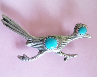 Vintage Native American Sterling Silver/ Turquoise Brooch / Pin / Road Runner Pin / Brooch / Southwestern Brooch / Pin / Sterling Jewelry