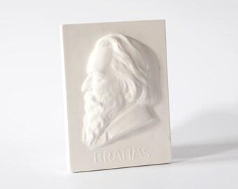 Vintage BRAHMS wall hanging bust Johannes Brahms pianist head plaster home decor