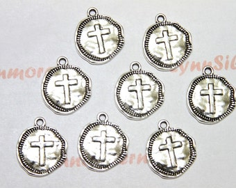 100  pcs  20x17mm One side Cross Coin Charm Antique Silver Lead free Pewter