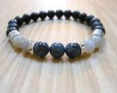 Labradorite Dumortierite Mala Bracelet, Healing & Balancing, Mala Bracelet, Yoga, Buddhist, Meditation, Prayer Beads