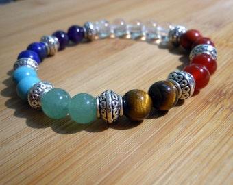 Chakra Mala Bracelet, Healing & Balancing, Mala Bracelet, Yoga Bracelet, Rainbow, Meditation, Prayer Beads, Chakra Bracelet