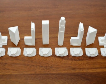 Los Angeles, chess set set, city chess, board game, 3d printed
