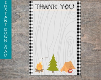Camping Lumber Jack Forest Buffalo Plaid Lumber Jack Camping printable digital thank you card | INSTANT DOWNLOAD