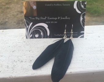 The Sleek Stylish Black Feather Dangle Earring