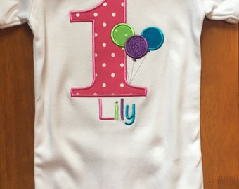 Pink, Lime Green, Purple, and Turquoise Birthday Balloons Embroidered Shirt or Baby Bodysuit