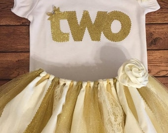ON SALE Ivory and Gold Birthday Tutu Outfit