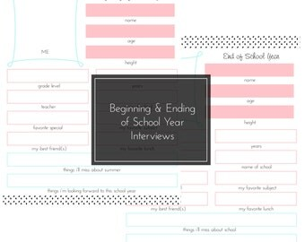 Beginning and Ending of School Year Interview -- First Day of School Prep