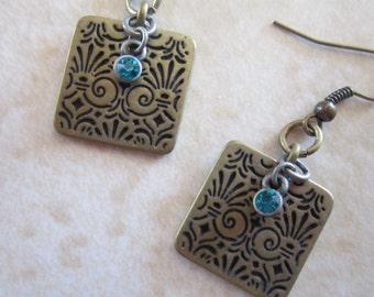 Brass Earrings, Turquoise Earrings, Tribal Earrings, Brass Jewelry, TheBeadPad, The Bead Pad, Aztec Earrings