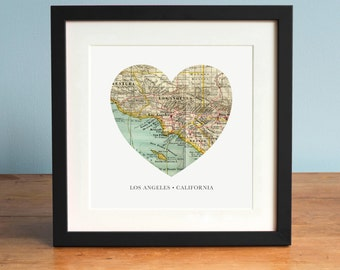 Los Angeles Heart Map, Los Angeles California Map, Heart Map, Vintage Map, Antique Map Art, Personalized Map Art, Valentines Day