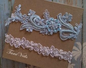 Wedding garter set, Light Blue Garter, Rhinestone Light Blue Garter, Bridal garters light blue,bridal garter,Floral lace garter,Garter Set