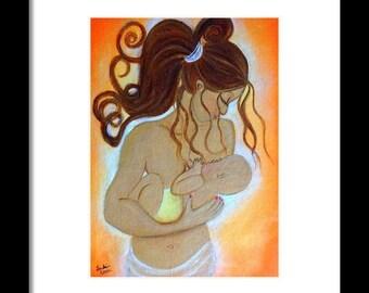 Motherhood Art-Breastfeeding,Nursing,Whimsical,Print,Mother and Child Art-Original-Canvas,8 X 10