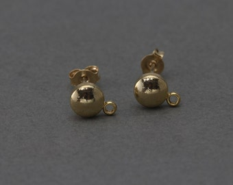 Round Post Earring . Earring Component . 925 Sterling Silver Post . Polished Gold Plated over ...