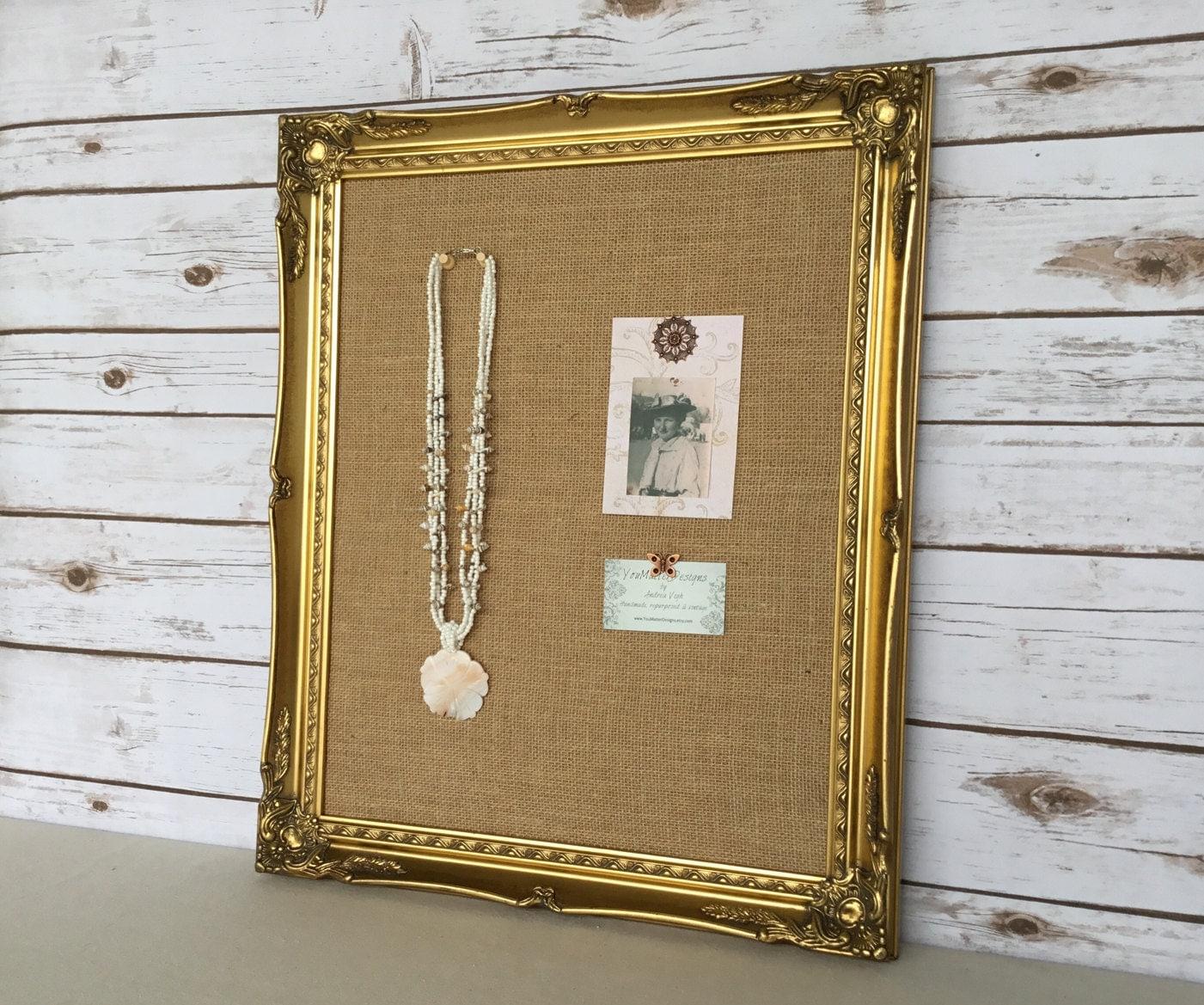 Framed Cork Board Pin Board Bulletin Board Antique Gold