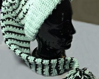 Vintage Stocking Hat - Elf Hat- Seafoam and Black