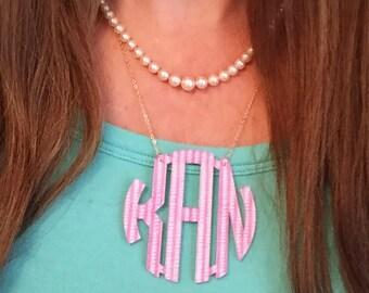 Large  Monogram Necklace | Custom Patterns | Monogram Necklace Acrylic | Gift for Her |