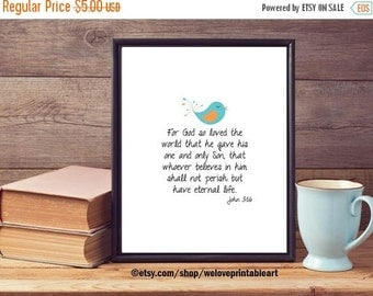60% OFF SALE John 3:16 For God So Loved the World, Scripture Print, Bible Verse Art, INSTANT Download, Art Print, Wall Art, Digital Print, G
