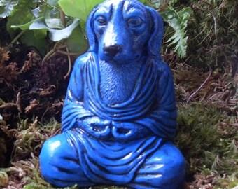 Dog Buddha,Meditating Dog Statue,Yoga Dog Statue,Medicine Healing Dog Buddha Statue,Zen Statue,Outdoor Zen Garden Decor,CementGry