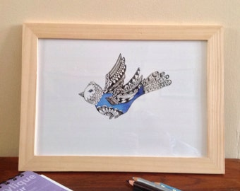 Drawing print of Bird,Budgie Print, Blue Budgie Zen Doodle Print, Zen Tangle Bird Print, Living Room Print, Bird Art Print