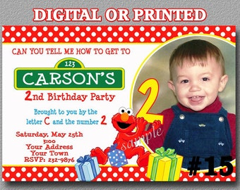 Elmo Invitation with Photo Sesame Street Birthday Party invitation YOU Print Digital File or PRINTED Elmo Birthday Invitation