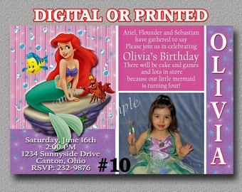 Ariel The Little Mermaid Printable Birthday Invitation with Photo You Print Digital OR Printed Ariel Birthday Party Invitation